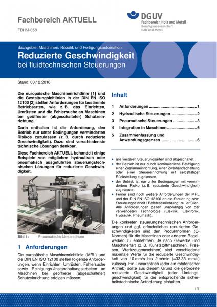"""FBHM-058 """"Reduzierte Geschwindigkeit bei fluidtechnischen Steuerungen"""""""