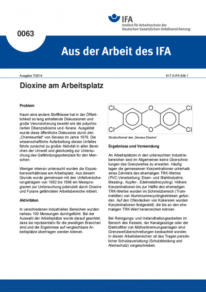 Dioxine am Arbeitsplatz. Aus der Arbeit des IFA Nr. 0063