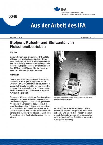 Stolper-, Rutsch- und Sturzunfälle in Fleischereibetrieben. Aus der Arbeit des IFA Nr. 0046