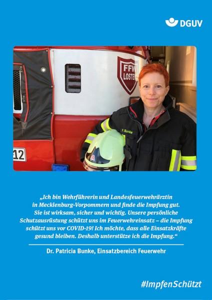 "Plakat #ImpfenSchützt, Motiv ""Frau Dr. Bunke"" (DGUV) Hochformat"