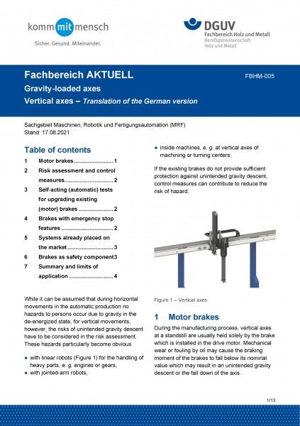 "FBHM-005 ""Gravity-loaded axes - vertival axes"""